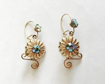 Sweet Vintage Gold Toned Brass Dangle Earrings, Flower Design Earrings with Blue Rhinestone Accents