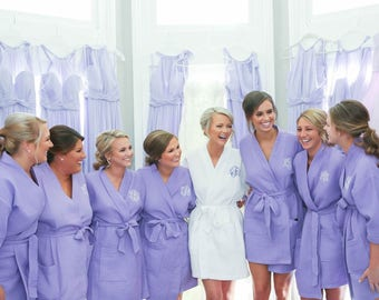 Bridesmaid Gift - Bridesmaid Robes Set of 7 Monogrammed Robes - Short Kimono Waffle Weave Robes for Wedding Party Bridesmaids Gifts