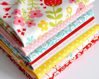Riley Blake's Happy Day Fat Quarter Bundle - 7pc FQ Bundle, Quilting Fabric, Quilting Supplies
