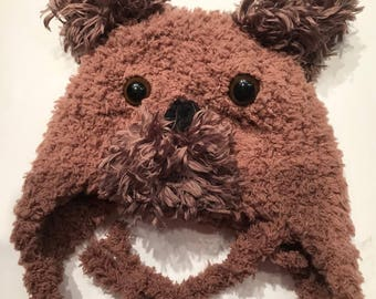 Puppy dog Ear flap hat,  baby puppy hat, dog  hat, furry dog hat