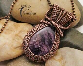 Oxidized Copper Wire Woven & Purple Charoite Pendant