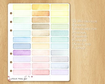 33 Rainbow Eventboxes or Banners, Made With Watercolor, Fitting PERSONAL Formated Planners (Kikki.k and Filofax)