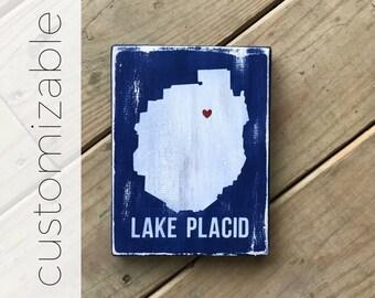 SMALL Adirondack Park Silhouette w/ Heart - Adirondack Decor - Cabin Decor - Mountain Decor - Lake Decor - Custom Location - Wood - under 25