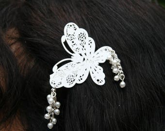 Bridal White Butterfly hair ornament