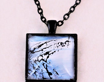 Paint pouring Necklace, Square Jewelry, one of a kind, unique art