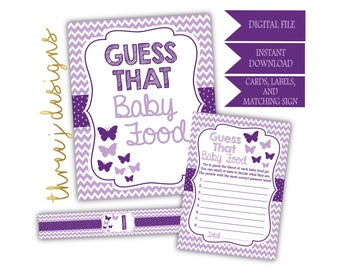 Butterfly Baby Shower Guess That Baby Food Game Cards, Labels and Sign - INSTANT DOWNLOAD - Plum and Lavender - Digital File - J004