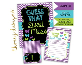 Butterfly Baby Shower Guess That Sweet Mess Game Cards and Sign - INSTANT DOWNLOAD - Purple, Teal and Green - Digital File - J006