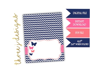 Butterfly Baby Shower Food Tent Cards - INSTANT DOWNLOAD - Navy Blue, Pink and Coral - Digital File - J003