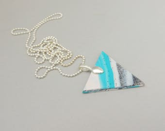 Marbled Triangle Necklace, Polymer Clay Necklace, Unique Necklace, Statement Necklace, Geometric Necklace, Turquoise Necklace, Clay Necklace