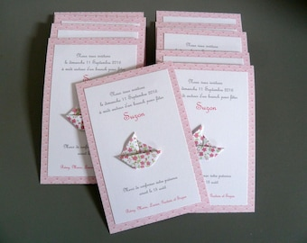 Custom baptism or birth sailboat boat origami - liberty Pink for girl - handmade / handcrafted