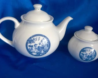 "Blue & White Tea Pot and Sugar Bowl ""Willow"" Pattern"