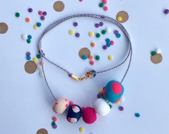 Handmade statement polymer clay necklace