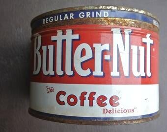 Vintage Coffee Tin, Round Coffee Tin, Butter-Nut Coffee Tin, Round Tin With Lid, Farmhouse Tin, Rustic Metal Tin, Red and White Tin