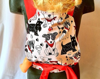 Doll carrier - dog, mei tai doll boy, girl gift, kids gift, doll toy, doll accessories, play doll, teddy carrier, pink doll carrier