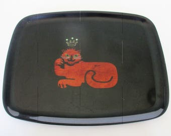 Vintage Couroc of Monterey Queen Cat Serving Tray Inlay Jeweled Crown 12 x 9