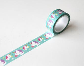 Unicorn Washi Tape, Kawaii Pastel Planner tape, Birthday card making tape/ Magical unicorn planner