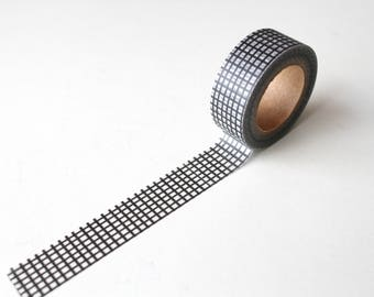 Black Grid Washi tape/  Monochrome Graph Paper Planner Deco tape/Mixed Media tape
