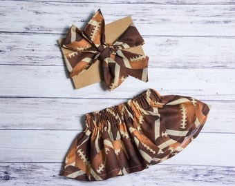 Football skirt and Head wrap Set- football head wrap, baby skirt, little girl skirt, baby smashcake outfit