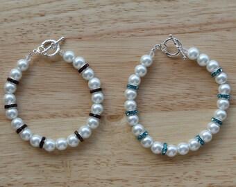 Beaded Bracelet, White Glass Pearl Beads