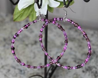 Beaded Mega Hoop Earrings, Purple Glass Beads, Fashion Earrings