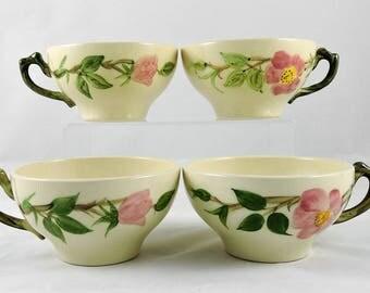 Vintage Franciscan Desert Rose Tea Cups Set of 4 ~ USA ~ 1940's-50's ~ EXCELLENT