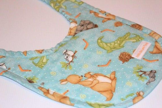 Handmade Baby Gifts Australia : Handmade baby bib australian animals unisex gift