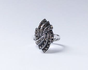 Bold Vintage Marcasite & Sterling Ring