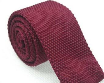 Burgundy Knit Necktie Mens Knitted Tie Skinny Tie Wedding Necktie Gift for Men Skinny Knitted Tie Knit
