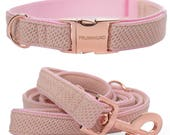 Dog collar CANDY with rosegold colored hardware - handmade in Germany