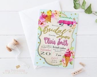 Summer Bridal Shower Invitation / Digital Printable Birthday Invite for Wedding / DIY Party
