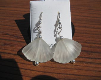 White Sea Glass Shell Sterling Silver Drop Earrings, No. 2155