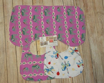 Personalised Embriodered bib and burp cloth set