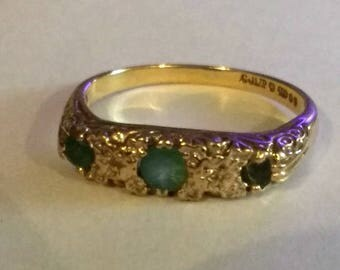 Vintage Emerald Half Eternity Ring, 9 Carat Gold, Size R