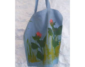 100% Cotton Hand Dyed & Screen Printed and Hand Painted Tote Bag