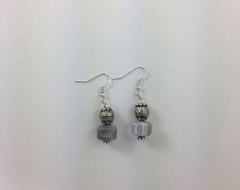 Agate & Silver Bead Earrings by Pottery Lovely