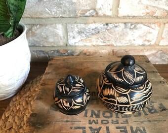 Vintage Wooden Hand Carved Canister Set