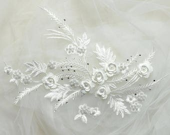 Lace applique, Ivory lace, French Chantilly lace applique, 3D lace, bridal applique, Applique