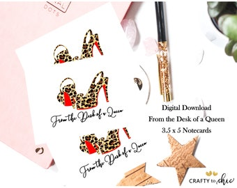 From the Desk of a Queen DIGITAL DOWNLOAD Stationary Card
