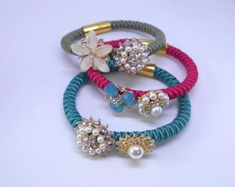 Soutache bracelet, embroidered bracelet, flowers and crystals. Christmas Gift.