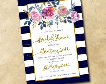 Floral Bridal Shower Invitation watercolor/printable/Digital File/navy, gold, flowers, bridal shower floral/wording can be changed