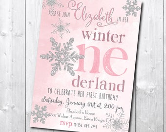 Winter Wonderland First Birthday Invitation printable/Winter Onderland Invitation/little snowflake silver glitter pink watercolor/digital