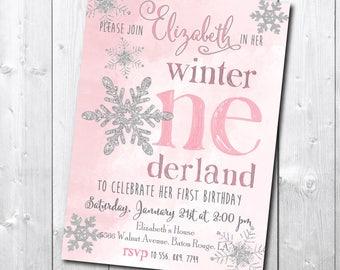 Winter Onderland Invitation printable/Winter Wonderland Invitation/little snowflake silver glitter pink watercolor/digital