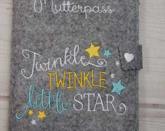 Nut case / cover felt/motive saying twinkle / manual work