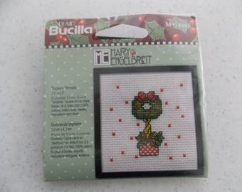 Mary Engelbreit Christmas Topiary Wreath - Counted Cross Stitch Kit with Frame