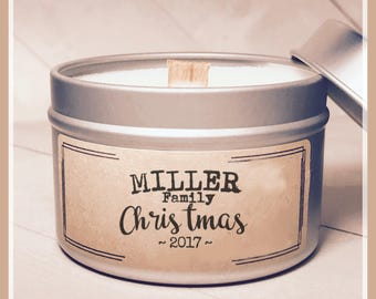 Personalized Christmas Candle, Christmas Gift, Xmas Candle, Personalized Christmas Gift, Candle Tin, Soy Candle, Wood Wick Candle