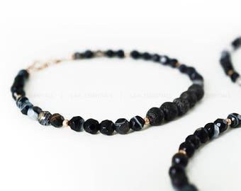 Rose Gold Black Agate & Lava Bead Essential Oil Diffuser Bracelet - Dainty Rose Gold Bracelet