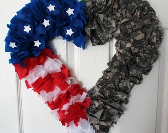 Army Wreath, Camouflage Wreath, Heart Wreath, Military Wreath, Homecoming, Deployment, 4th of July Wreath, Memorial Day Wreath
