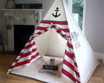 Kids Teepee Play Tent Pirate / Nautical teepee with poles. Wigwam Childs Tepee & Teepee / tipi / wigwam / play tents by MapleandSpudDesigns on Etsy