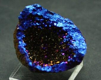 Cobalt Blue Aura Quartz Geode for Sale
