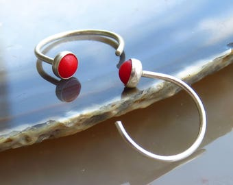 Small Coral Hoop Earrings, Stone Hug Hoops, Hugging Hoop Earrings, Red Stone Earrings